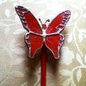 Piros pillangó tiffanyból üvegpálcán, Otthon, lakberendezés, Dekoráció, Kerti dísz, Mindenmás, Üvegművészet, Élethű tiffany pillangók bármilyen színben és típusban kérhetők. -ez esetben épp piros. Üvegpálca v..., Meska