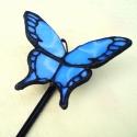 Kék pillangó tiffanyiból üvegpálcán, Otthon, lakberendezés, Dekoráció, Kerti dísz, Mindenmás, Üvegművészet, Élethű tiffany pillangók bármilyen színben és típusban kérhetők. -ez esetben épp kék. Üvegpálca vég..., Meska