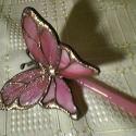 Pille rózsaszín tiffanyüveg, Otthon, lakberendezés, Dekoráció, Kerti dísz, Élethű tiffany pillangók bármilyen színben és típusban kérhetők. -ez esetben épp ilyen let..., Meska