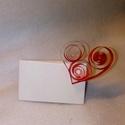 Ültetőkártya (szív, Dekoráció, Esküvő, Esküvői dekoráció, Ünnepi dekoráció, Szív alakú, quilling technikával kialakított ültetőkártya rendezvényekre, esküvőkre. Nagyo..., Meska