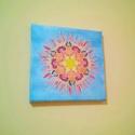 Nap selyem mandala falikép, Otthon, lakberendezés, Falikép, Festészet, Egyedi tervezésű és készítésű mandala, selyemre festve. Egyedi, csak 1 darab készül belőle.  20*20 ..., Meska