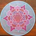 Rózsa selyem mandala, Otthon, lakberendezés, Falikép, Ezt a mandalát egy 20 cm átmérőjű selyemre festettem, ami egy kör alakú keretre van feszítve..., Meska