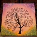 Életfa selyem falikép, Selyemre festett életfa, 20*20-as keretes vászon...