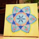 Tavaszi virág selyem mandala falikép, Dekoráció, Kép, Festészet, Egyedi tervezésű és készítésű mandala, selyemre festve. Csak 1 darab készül belőle.  20*20 cm-es ke..., Meska