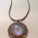 Mandala nyaklánc, Ékszer, óra, Nyaklánc, A saját tervezésű és készítésű mandalám nyomatát tartalmazza a medál.  Kapcsos szíjjal t..., Meska