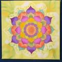 Tavaszi virág selyem mandala falikép, Dekoráció, Selyemfestés, Egyedi tervezésű és készítésű mandala, selyemre festve. Csak 1 darab készül belőle.  30*30 cm-es ke..., Meska