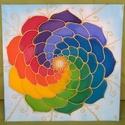 Színes körforgás selyem mandala falikép, Otthon, lakberendezés, Falikép, Selyemfestés, Egyedi tervezésű és készítésű mandala, selyemre festve. Egyedi, csak 1 darab készül belőle.  30*30 ..., Meska