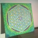 Az élet virága mandala selyem falikép, A zöld és kék szín kombinációjában készül...