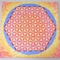 Az élet virága selyem mandala falikép, Otthon, lakberendezés, Falikép, Selyemfestés, Az élet virága sok kultúrában szent szimbólum, az univerzum leképeződése. A mandala színei energiát..., Meska