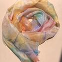 Színes pasztell tavaszi selyemsál, Ruha, divat, cipő, Kendő, sál, sapka, kesztyű, Sál, Selyemfestés, 40*150 cm méretű hernyóselyem sál, vidám tavaszi színekben. Puha, lágy sál, amely remekül illik tav..., Meska
