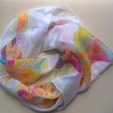 Absztrakt mintás színes tavaszi selyemkendő, 67*67 cm méretű hernyóselyem kendő, vidám tav...