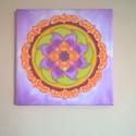 Lila szélforgó mandala selyem falikép, Otthon, lakberendezés, Falikép, Selyemfestés, Egyedi tervezésű és készítésű mandala, selyemre festve. Csak 1 darab készül belőle.  30*30 cm-es ke..., Meska
