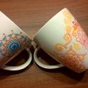 Mandala mintás bögre szett teához, kávéhoz, 2 db egymással harmonizáló bögre, különleges...