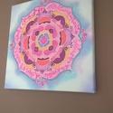 Szeretet selyem mandala falra, Egyedi tervezésű és készítésű mandala, sely...