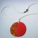 Őszi piros-narancs nyaklánc, Süthető gyurmából készítettem ezt a medált,...