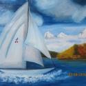 Vitorlás , Dekoráció, Képzőművészet, Festmény, Olajfestmény, Festészet, Vitorlás című festményem olajjal, 40 x 50 cm-es feszített vászonra készült, melynek oldalai is fest..., Meska
