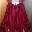 Hosszú magyaros paszományos menyecske ruha, Ruha, divat, cipő, Esküvői ruha, Bordó szaténból készült XXL  es Magyaros ruha arany paszománnyal díszítve a szoknya alja és..., Meska