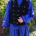 Kék csikós ruha +zsinóros mellényel, Magyar motívumokkal, Varrás, Tiszta pamutból készült 3 darabból álló szet .Egy ing bő újjal + nadrág bő szárral rolytal a végén ..., Meska
