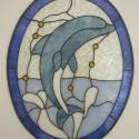 Delfin falikép-ablakdísz, Dekoráció, Otthon, lakberendezés, Dísz, Falikép, Tiffany technológiávan készült díszüveg. A minta magassága:55cm, szélessége:43cm. A motívu..., Meska