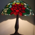 Tiffany lámpa, Otthon, lakberendezés, Dekoráció, Lámpa, Asztali lámpa, Üvegművészet, Tiffany lámpa. A lámpaernyő átmérője:40cm. A lámpa teljes magassága:50cm. Bármilyen más színösszeál..., Meska