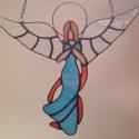 angyalka, Dekoráció, Dísz, Karácsonyi, adventi apróságok, Üvegművészet, Tiffany technológiával készített angyalka, mely ajándéknak, ablakdísznek egyaránt alkalmas. Magassá..., Meska