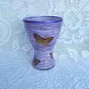 Lila váza fonaldekorral, Dekoráció, Otthon, lakberendezés, Dísz, Asztaldísz, Fonaldekorral és  decoupage technikával feldíszítettem.  A váza kb. 20 cm-es.  A legvégén dec..., Meska