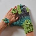 Friss zöld - női kesztyű készlet, Friss zöld színátmenetes fonalból kötöttem e...