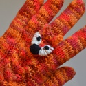 Róka arc - Kötött kesztyű rókafej gyűrűvel, Egy kis róka néz Rád a kesztyűn :-)  5 ujjas k...