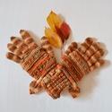 Őszi levél   -     barna, bézs, narancs színátmenetes ötujjas női kesztyű a hideg napokra. Jöhet az ősz és a tél!, A színes falevelek és a lombhullás minden évbe...