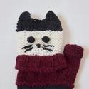 Retro pulcsis cica - kötött kézmelegítő bordó, fehér, fekete színből. , Bordó, fehér, fekete színből kötöttem ezt a ...