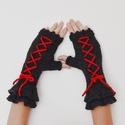 Vörös és fekete  - fűzött, kötött kézmelegítő dupla fodorral steampunk stílusú öltözködéshez is. Jöhet a tél!, Ruha, divat, cipő, Kendő, sál, sapka, kesztyű, Kesztyű, Különleges megjelenésű lehetsz ebben a fűzős kézmelegítőben!  Már csak egy vörös rózsa hiányzik a ké..., Meska