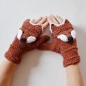 Vuk és Íny - kapucnis kesztyű lehajtható róka arccal vörös színben. Jöhet a hideg tél!, Vuk és Íny: a kedvenceim :-)  Egyujjas kötött ...