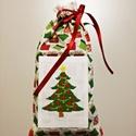 Keresztszemes fenyő mintával hímzett zsák, Dekoráció, Ünnepi dekoráció, Karácsonyi, adventi apróságok, Ajándékzsák, Varrás, Keresztszemes betéttel díszített karácsonyi mintás vászonból készült zsák. A piros és zöld ajándékd..., Meska