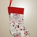 Mikulás csizma, Dekoráció, Ünnepi dekoráció, Karácsonyi, adventi apróságok, Ajándékzsák, Varrás, Felakasztható Mikulás csizma piros-fehér karácsonyi mintás bútorvászonból, piros szegéllyel, fehér ..., Meska