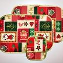 Terítékalátét szett - karácsonyos, Konyhafelszerelés, Dekoráció, Edényalátét, Ünnepi dekoráció, Varrás, 3 db-os karácsonyi mintás terítékalátét szett.  A csomag 2 db tányéralátétből és 1 db edényfogóból ..., Meska