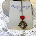 """""""Rózsával  jelölöm""""   (könyvjelző), Ékszer, Naptár, képeslap, album, Ballagás, Könyvjelző, Bronz színű könyvjelző, vintage hangulatban. Piros gyöngy, szépséges cizellált medál, melyben rózsa ..., Meska"""