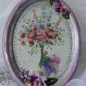 Virágangyal  (ovális kép), Dekoráció, Otthon, lakberendezés, Falikép, Ovális gipsz kép virágangyallal. Découpage technika, papír, selyem, és szatén virágok....  3..., Meska