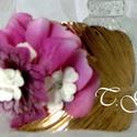 Rose tendre  karperec, Ékszer, Esküvő, Karkötő, Rózsaszín,fehér, kristály... A merev, aranyszínű levelet formázó karperecre selyem,sospeso és eperfa..., Meska