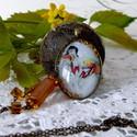 """""""Napfényíze"""" nyaklánc, Ékszer, Nyaklánc, Art deco hangulatú bronz óriás medállal, melyben a  lencse (40x30mm) découpage technikával díszítve...., Meska"""