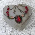 Dominika  ( nyaklánc ), Ékszer, Nyaklánc, Bronz színű, art deco hangulatú ékszer.   A lencsékben 1-1 szál rózsa, mely découpage techni..., Meska