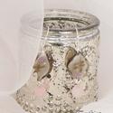 Rózsa az üvegben... (fülbevaló), Ezüst színű lógós fülbevaló, rózsás murá...