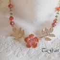 Narancsvirág (nyaklánc), Ékszer, Nyaklánc, Narancs és  arany színű statement nyakéket álmodtam...  A medál óriás virág,  melyben krist..., Meska