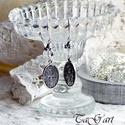 """""""Ezüst tiszta"""" ( fülbevaló ), Lógós, ezüst-fehér fülbevaló,  ovális antik..."""