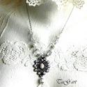 Miss Emma (nyaklánc), Ékszer, Ruha, divat, cipő, Nyaklánc, Antik ezüst színű, kristályokkal díszített, gyöngyös medál, gyöngyös lánc. Sok kristály..., Meska