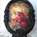 Rusztikus csendélet  (kép), Dekoráció, Otthon, lakberendezés, Falikép, Ovális, gipsz kép.  Mesés hangulatú falrészlet  egy rusztikus konyhából... Découpage  és festés, rep..., Meska