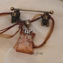 Mandola (nyakék), Ékszer, Esküvő, Nyaklánc, Különleges medál, melyet bronz alapon víztiszta kövekkel díszített foglalat ölel. Mucha egyi..., Meska