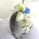 """""""Viktória"""" porcelán ( húsvéti, tavaszi dekoráció), Dekoráció, Dísz, Húsvéti apróságok, Decoupage, szalvétatechnika, Festészet, 12-14 cm-es tojás alakú, découpage technikával díszített, elegáns  dekoráció. Egyik felén hortenzia..., Meska"""
