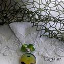 Álomkép (nyaklánc), Ékszer, Ruha, divat, cipő, Nyaklánc, Ezüst színű nyaklánc üveglencsés medállal, melybe   fantasy nyomatot ragasztottam, szépséges zöldekk..., Meska