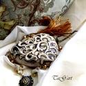 Tilli  (nyaklánc), Ékszer, Esküvő, Nyaklánc, Bronz színű nyaklánc. Arany és érett sárgabarack színű muranoi  lámpagyöngy, japán gyöng..., Meska