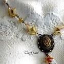 Tilli  (nyaklánc), Ékszer, Esküvő, Nyaklánc, Bronz színű nyaklánc. Arany és érett sárgabarack színű muranoi  lámpagyöngy, japán gyöngy valamint t..., Meska